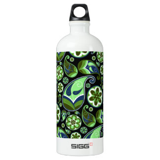 Blue and Green Paisley on Black SIGG Traveler 1.0L Water Bottle