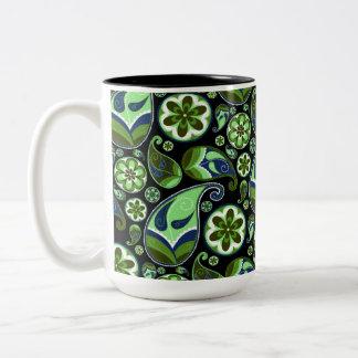 Blue and Green Paisley on Black Two-Tone Coffee Mug