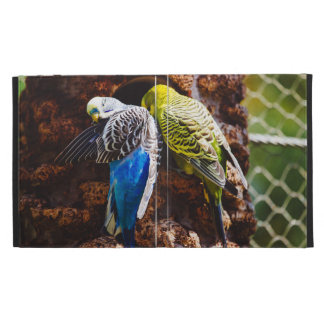 Blue and Green Parakeets, Bird Photography iPad Folio Cover