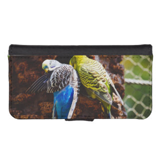 Blue and Green Parakeets, Bird Photography iPhone 5 Wallet Case