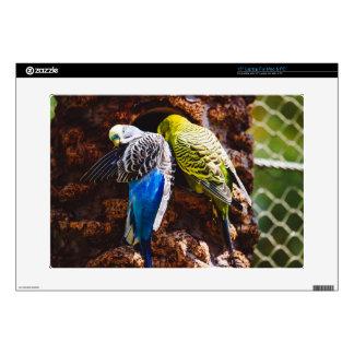 "Blue and Green Parakeets, Bird Photography 15"" Laptop Decal"
