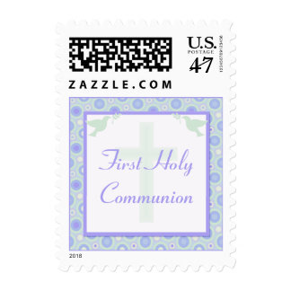 Blue and Green Pastel Circles First Holy Communion Postage