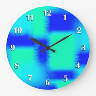 Blue and Green Patchwork Large Clock