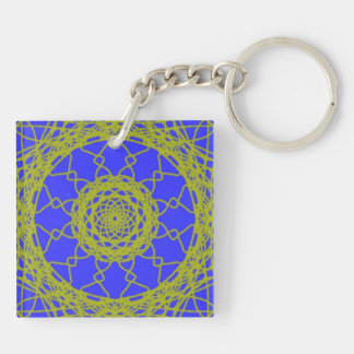 Blue and Green pattern Double-Sided Square Acrylic Keychain