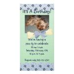 Blue and Green Paw Print Birthday Invitation Photo Card