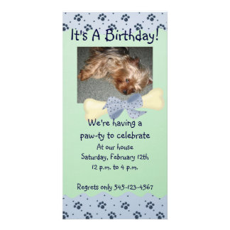 Blue and Green Paw Print Birthday Invitation Photo Card