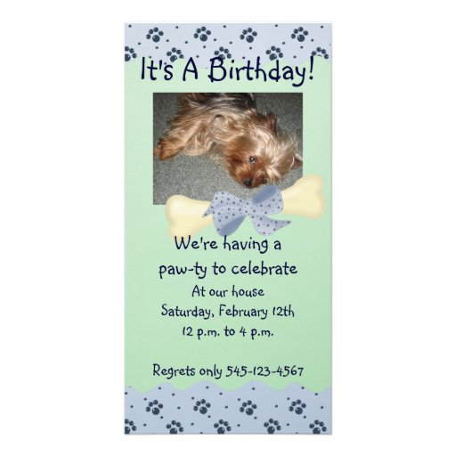 Blue and Green Paw Print Birthday Invitation Personalized Photo Card