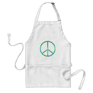 Blue and Green Peace Sign Adult Apron