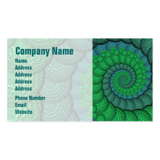 Blue and Green Peacock Feather Fractal Business Card
