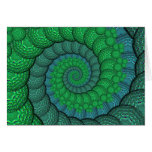 Blue and Green Peacock Feather Fractal Greeting Cards
