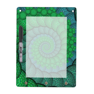 Blue and Green Peacock Feather Fractal Dry Erase Boards