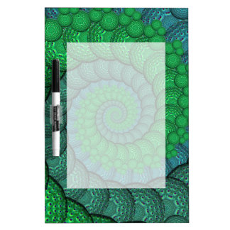 Blue and Green Peacock Feather Fractal Dry-Erase Whiteboard