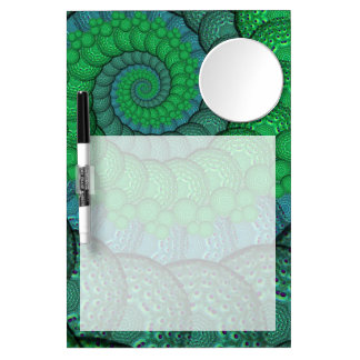 Blue and Green Peacock Feather Fractal Dry Erase Whiteboards
