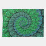 Blue and Green Peacock Feather Fractal Hand Towels