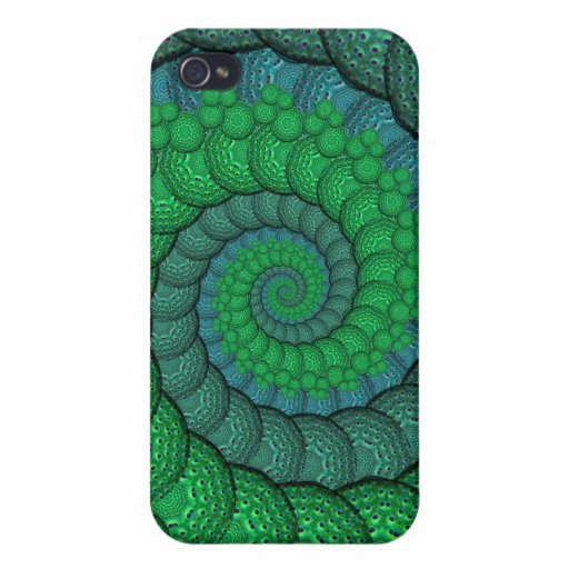 Blue and Green Peacock Feather Fractal iPhone 4/4S Covers