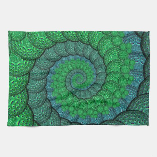 Blue and Green Peacock Feather Fractal Kitchen Towel
