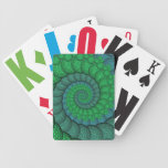Blue and Green Peacock Feather Fractal Bicycle Playing Cards