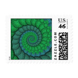 Blue and Green Peacock Feather Fractal Postage Stamps
