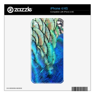 Blue And Green Peacock Feathers Skin For iPhone 4S
