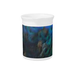 blue and green peafowl feathers beverage pitchers