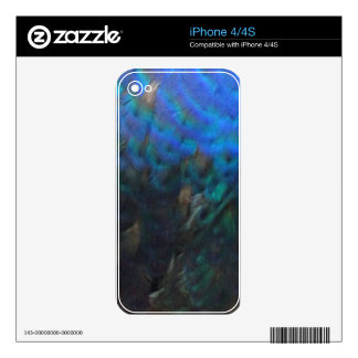 blue and green peafowl feathers skins for iPhone 4