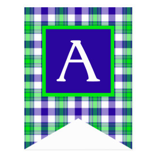 Blue and Green Plaid #1 Bunting Flag Postcards