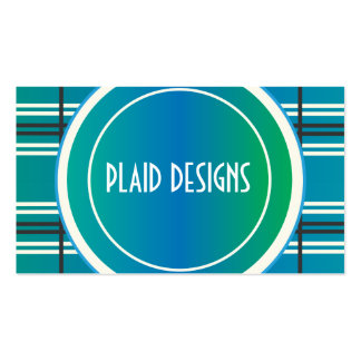Blue and Green Plaid Business Card