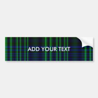 Blue and Green Plaid Checked Car Bumper Sticker