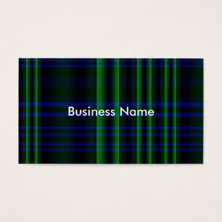 Blue and Green Plaid Checked Business Card