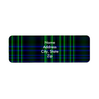 Blue and Green Plaid Checked Label
