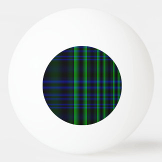 Blue and Green Plaid Checked Ping Pong Ball