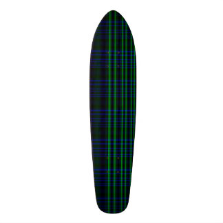 Blue and Green Plaid Checked Skateboard