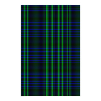 Blue and Green Plaid Checked Stationery Paper