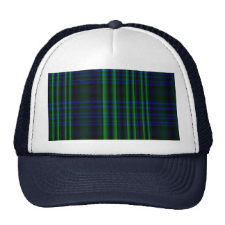 Blue and Green Plaid Checked Trucker Hat