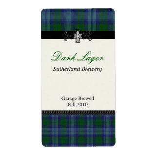 Blue and Green Plaid Home brewed beer Labels