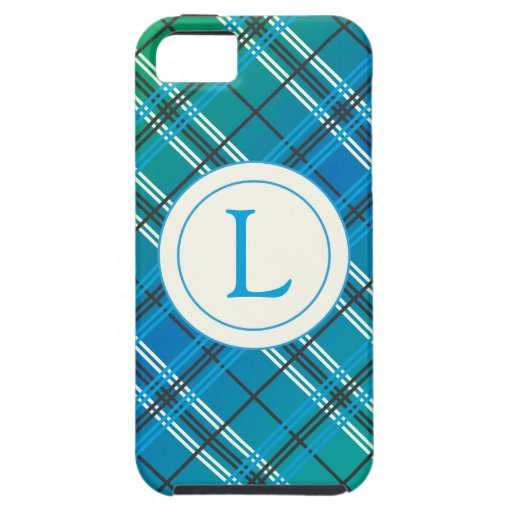 Blue and Green Plaid iPhone 5 Covers