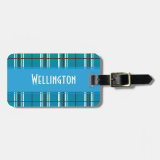Blue and Green Plaid Luggage Tags