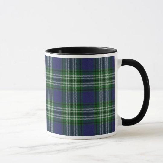 Blue and green plaid mug