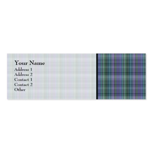 Blue and Green Plaid Pattern Abstract Double-Sided Mini Business Cards (Pack Of 20)