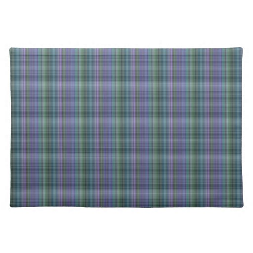 Blue and Green Plaid Pattern Abstract Placemat | Zazzle