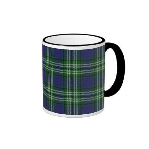 Blue and green plaid ringer coffee mug