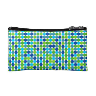 Blue and Green Polka Dot Cosmetic Bag