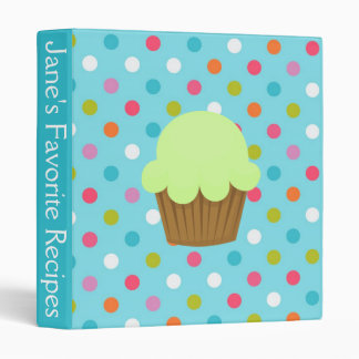 Blue and Green Polka Dot Cupcake Recipe 3 Ring Binder