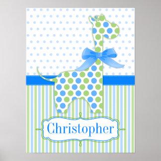 Blue and Green Polka Dot Giraffe Nursery Poster