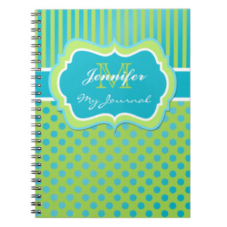 Blue and Green Polka Dot Striped Journal Notebook
