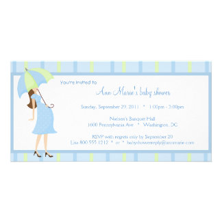 Blue And Green Polka Dots Baby Shower Invitation