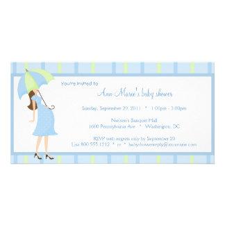 Blue And Green Polka Dots Baby Shower Invitation Photo Card