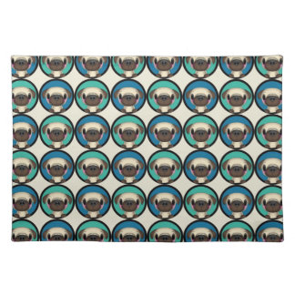 Blue and Green Pug Circles Placemat