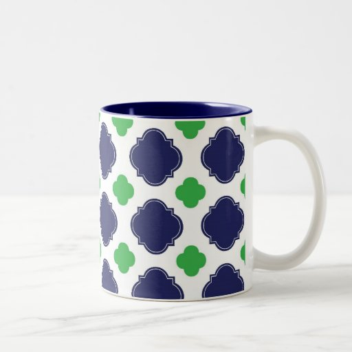 Blue and Green Quatrefoil Mug