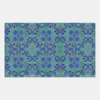 Blue and green rectangular sticker